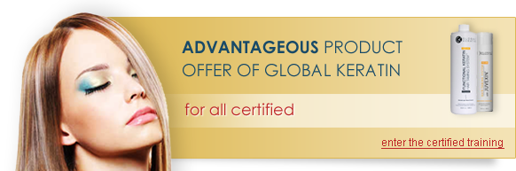 Advantageous product offer of Global Keratin for all certified  - enter the certified training